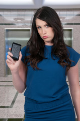 Woman with cracked phone screen