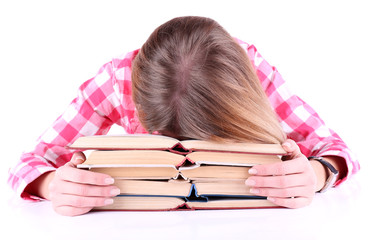 Girl fell asleep for books isolated on white
