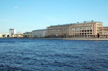 View of Pirogovskaya quay in Saint-Petersburg, Russia