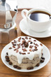 chocolate coffee cake with icing, vertical