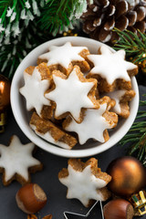 Christmas cookies in the form of stars, top view, vertical