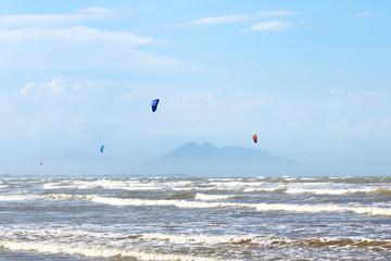 Kitesurfing on beach Rasa in Armacao dos Buzios, Brazil