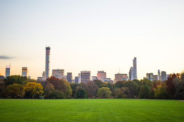 New York City's skyline as seen from the Great Lawn in Central P