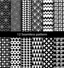 set geometric seamless patterns