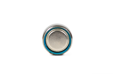 Lithium button cell battery isolated on white