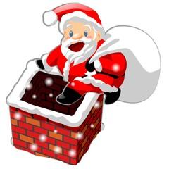 Santa Claus and chimney illustration