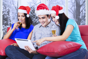 Teenagers group celebrate xmas day
