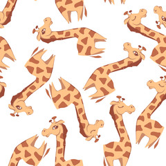 Vector seamless pattern with giraffes on white background