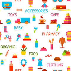 Vector seamless pattern with consumer goods