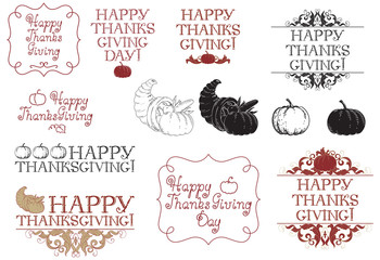 Happy thanksgiving day! Vector set at engraving style