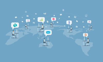 global social business communication connection background