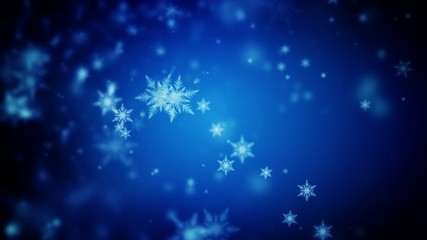 Abstract dark blue Christmas background of defocused snowflakes