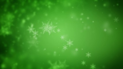 Abstract green Christmas background of defocused snowflakes