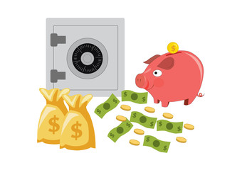 piggy bank money box with safe deposit box. vector illustration