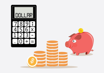 piggy bank money box with calculator. vector illustration