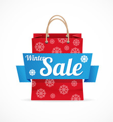 Vector Christmas sale red paper bag on white