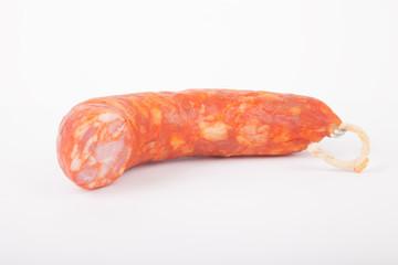 fresh chorizo sausage on a white background