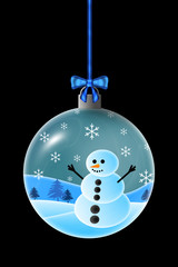 Illustration of a Snowman in a Christmas Ornament
