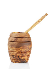 wooden honey pot with dipper