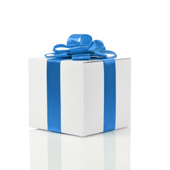 gift box with handmade blue ribbon bow