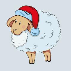 Cute sheep in Santa's hat. Vector illustration