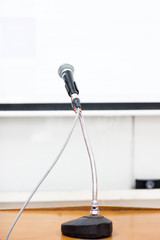 microphone at podium on seminar conference