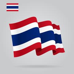 Flat and waving Thai Flag. Vector