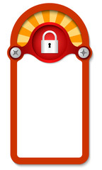 red vertical box for any text with padlock