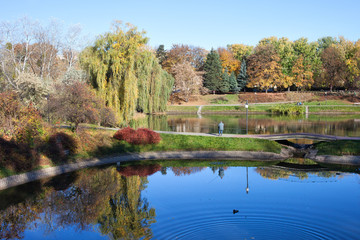 Lakes and Autumn Foliage in City Park