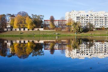 Lake of Skaryszewski Park in Warsaw