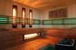 Sauna fińska kolorowe wnętrze.