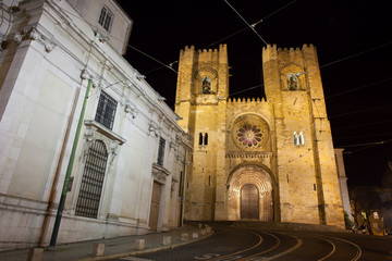 Lisbon Cathedral at Night in Portugal
