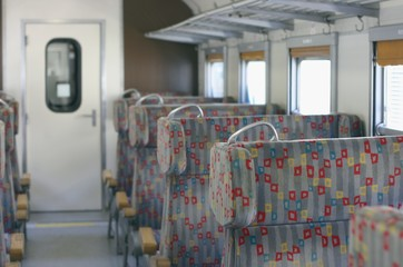 Interior of an old commuter train, second class train carriage