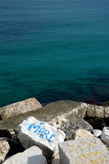 Sea - 'mare' on rocks (Bari, Apulia, Italy)