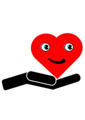 Lächelndes Herz auf einer Hand