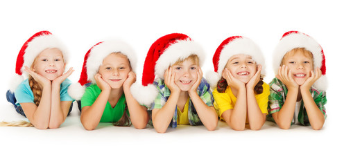 Christmas Children In Santa Helper Hat, Xmas Kids Boys Girls