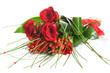 canvas print picture - Colorful Flower Bouquet from Red Roses on White Background.