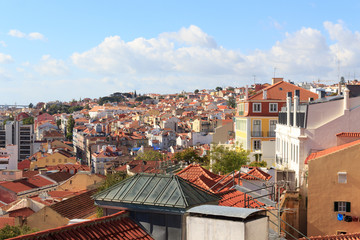 View of Lisbon cityscape in sunshine