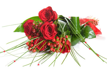 Colorful Flower Bouquet from Red Roses on White Background.