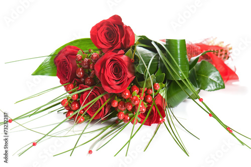 canvas print picture Colorful Flower Bouquet from Red Roses on White Background.