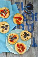 all sorts of mini pizzas. Italian cuisine