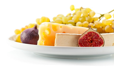 cheese with fruits isolated on  white