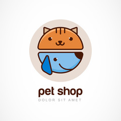Abstract design concept for pet shop or veterinary. Dog and cat