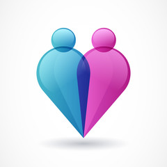 Abstract colorful people and heart shape icon. Vector logo templ