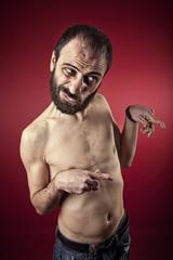 Portrait of mental ilness man