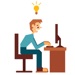 Vector illustration of administrator with good idea