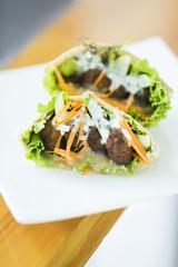 vegetarian falafel in pita bread sandwich