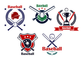 Colored Baseball emblems and badges