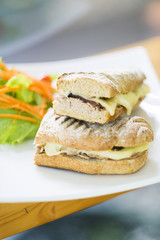 vegetarian tuna and cheese toasted baguette sandwich