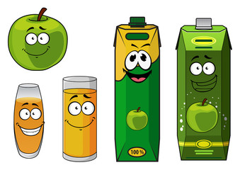 Fresh cartoon apple with apple juice